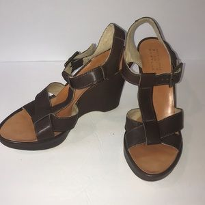 Barney's New York brown leather wedges